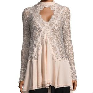 New With Tags Free People Lacy Tunic Keyhole Top